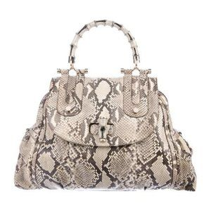 Gorgeous Authentic GUCCI Python Bamboo Bag with sh